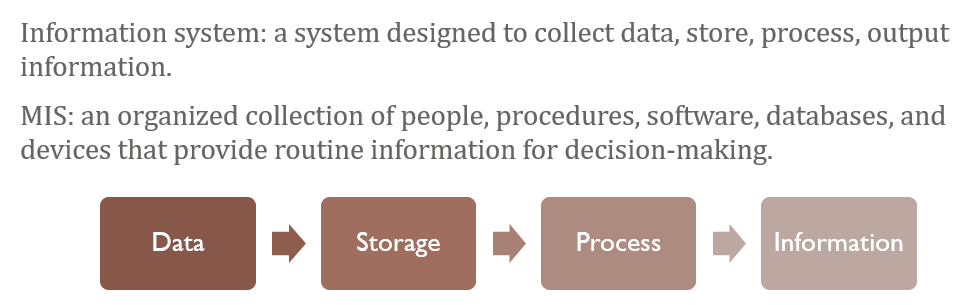 Information systems definition and process map