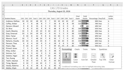 Data Bars selected on Quick Analysis Tool and data bars output values in Column O Total Points.