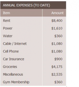 Completed Expenses Summary formulas. Title: ANNUAL EXPENSES (TO DATE). Two columns: Item (left), and Amount (right). Information displayed in cells: Rent $8400.00. Power $1610. Water $360. Cable/Internet $1080. Cell Phone $1080. Car Insurance $900. Groceries $4175. Miscellaneous $2535. Gym Membership $360.