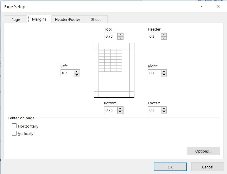 Page Setup dialog box with Page, Margin, Header/Footer, and Sheet tabs. Margins tab selected with options to enter values for Left, Top, Header, Right, Footer, and Bottom.