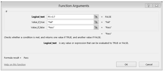 """IF Function Dialog Box with formula for Logical Test: = FALSE. """"Fail"""" if value true, """"Pass"""" if value false."""