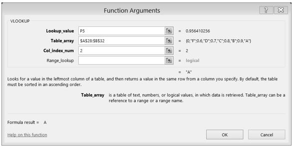 VLOOKUP completed dialog box with Function Arguments for Lookup_value, Table_array, Col_index_num, entered.