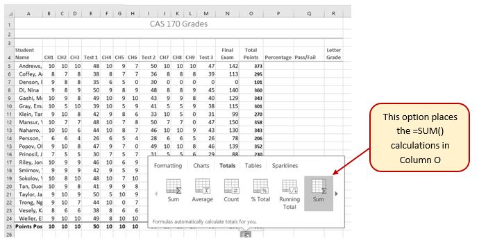 Quick Analysis Tool options: Sum (for bottom of columns), Average, Count, %Total, Running Total. On far right option Sum (for a column), places the =SUM() calculations in column O of worksheet.