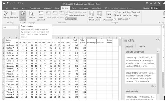 Smart Lookup tool in Review tab shows Insights with Wikipedia definitions for Percentage and Slugging Percentage.