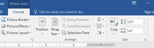 """Format tab to Size group options with Shape Width field selected and 5.4"""" entered. Height is 3.92"""""""
