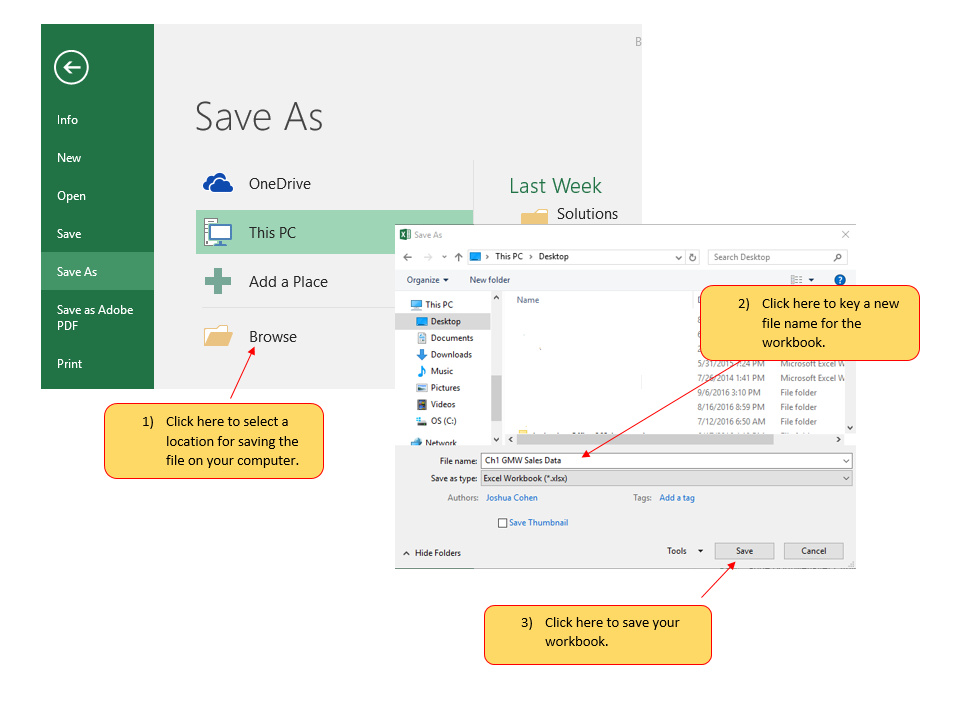 Save As dialog box for Excel 2016 featuring saving and naming a workbook.