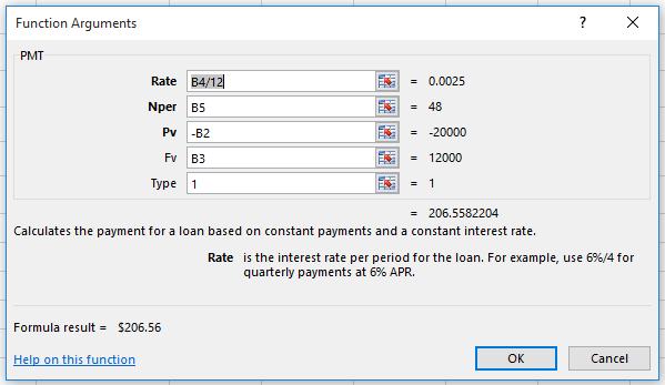 Function Arguments dialog box for PMT function car lease showing formula result.