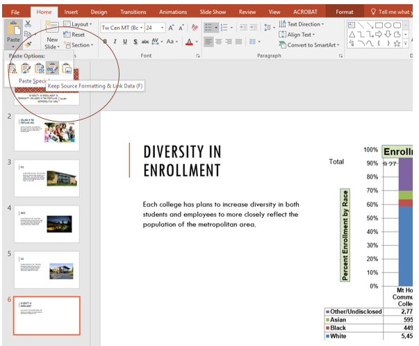 """Home tab in PowerPoint to Paste drop-down menu, Paste option """"Keep Source Formatting & Link Data"""" selected."""