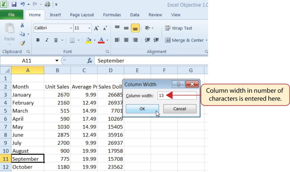"""Cell A11 """"September"""" activated and Column Width dialog box opened with """"13"""" entered, the max number of characters to fit in that cell."""