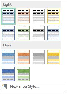 """Slicer Styles box with """"Light"""" and """"Dark"""" categories."""