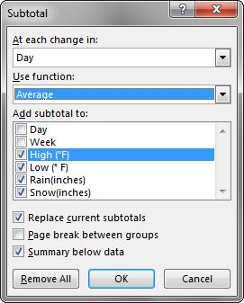 """Subtotal window open to """"At each change in"""" with """"Day"""" entered. Use function: Average. Add subtotal to: High, Low, Rain & Snow boxes checked. Boxes checked for Replace current subtotals, and Summary below data."""