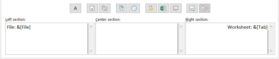 """Custom Footer dialog box shows sections for Left, Center, and Right. """"File: &[File]"""" entered for Left Section. and """"Worksheet: &[Tab]"""" for Right section. Center section empty."""