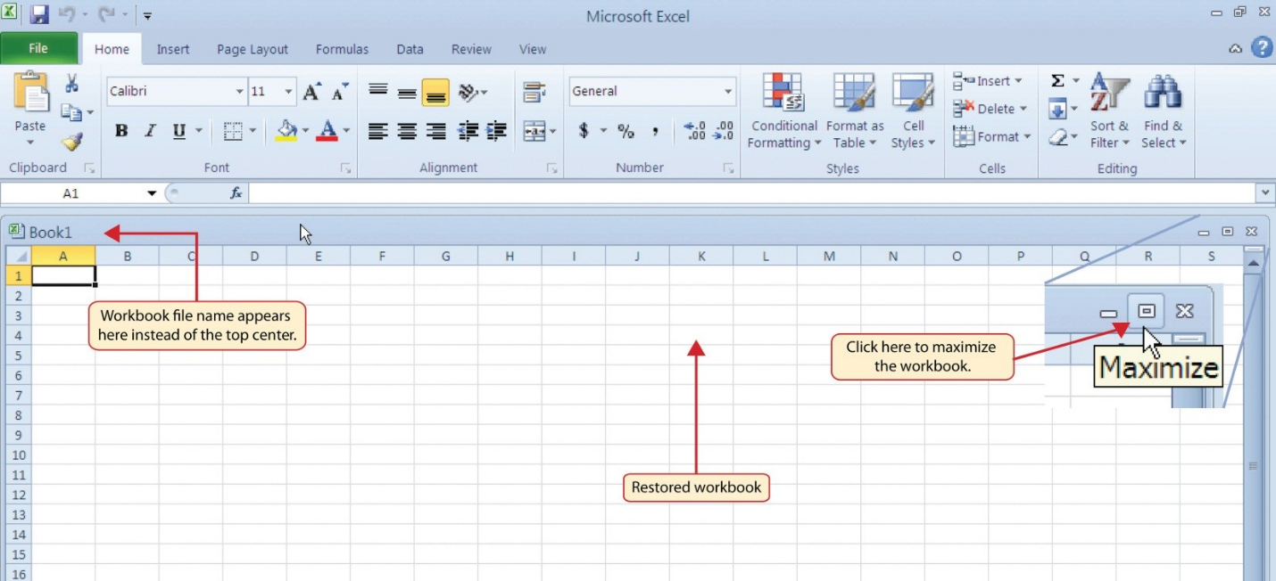 Maximize icon, workbook title in top left-hand corner not top center as in Figure 1.2.