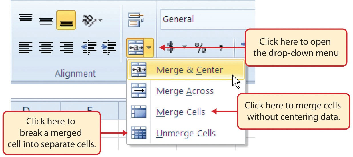 Merge Cell Drop-Down Menu featuring Merge & Center, Merge Across, Merge Cells without centering data, and Unmerge Cells to break a merged cell into separate cells.