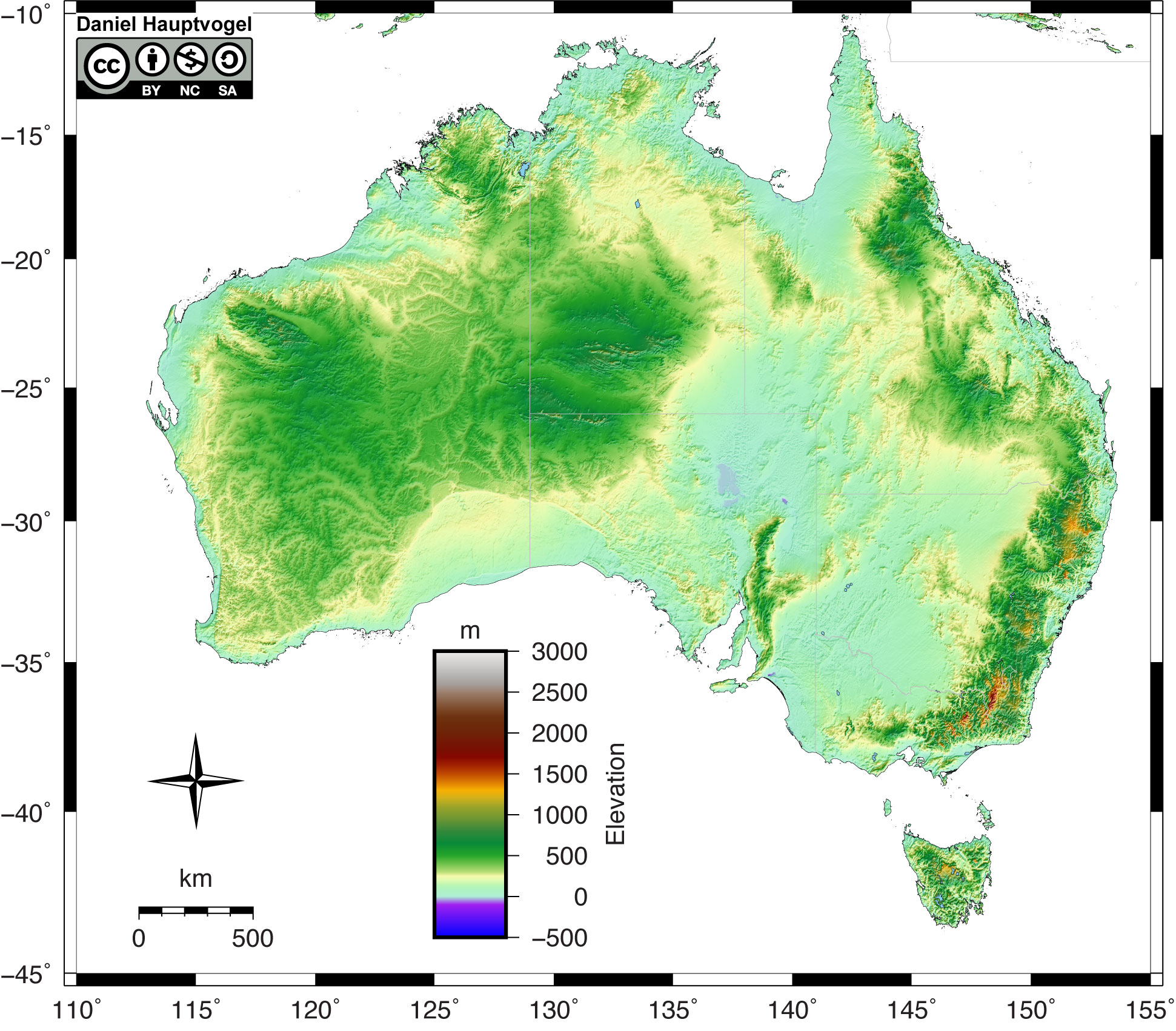 Shaded relief map of Australia.