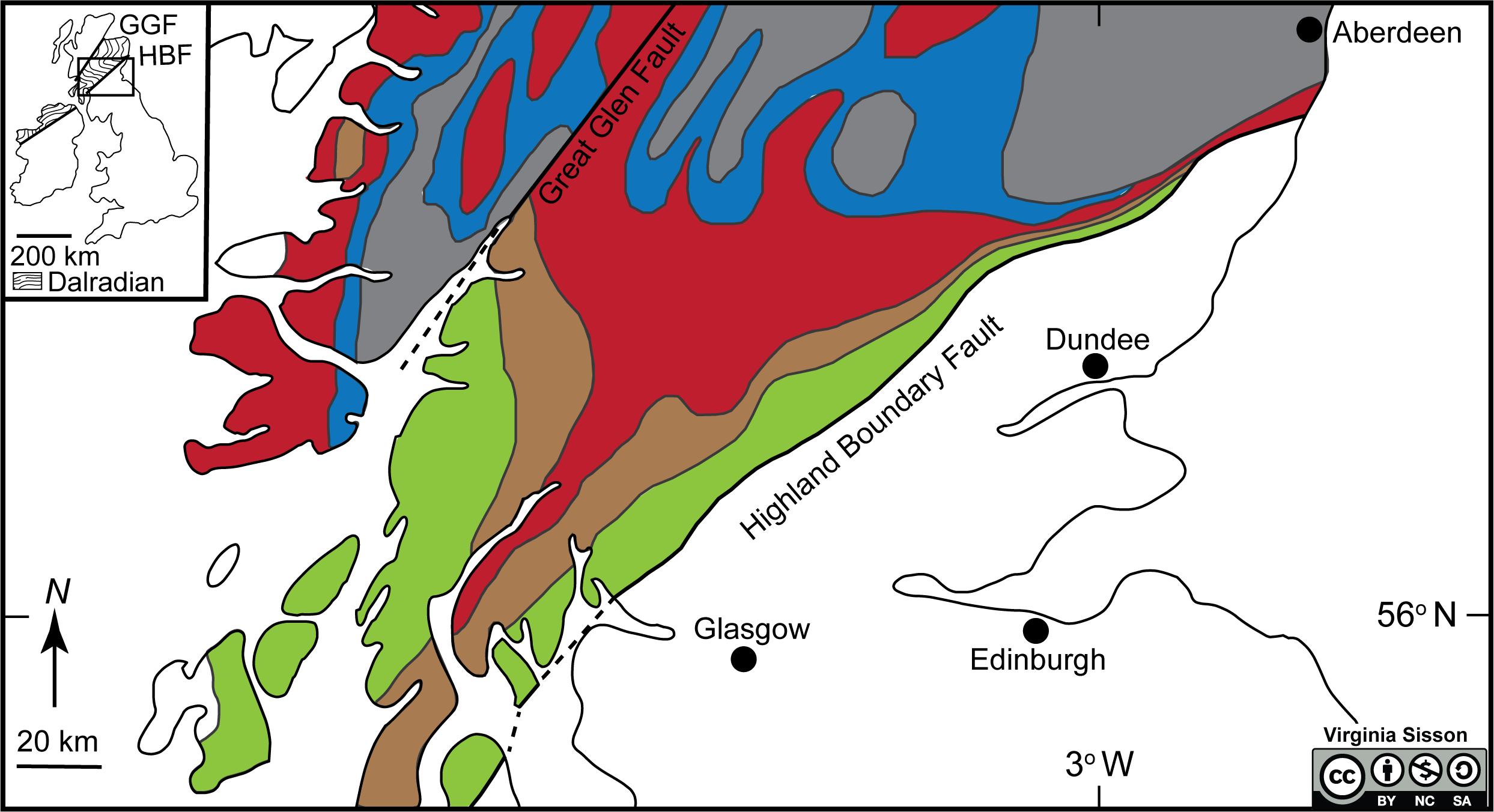 Barrovian metamorphic zones of northern Scotland.
