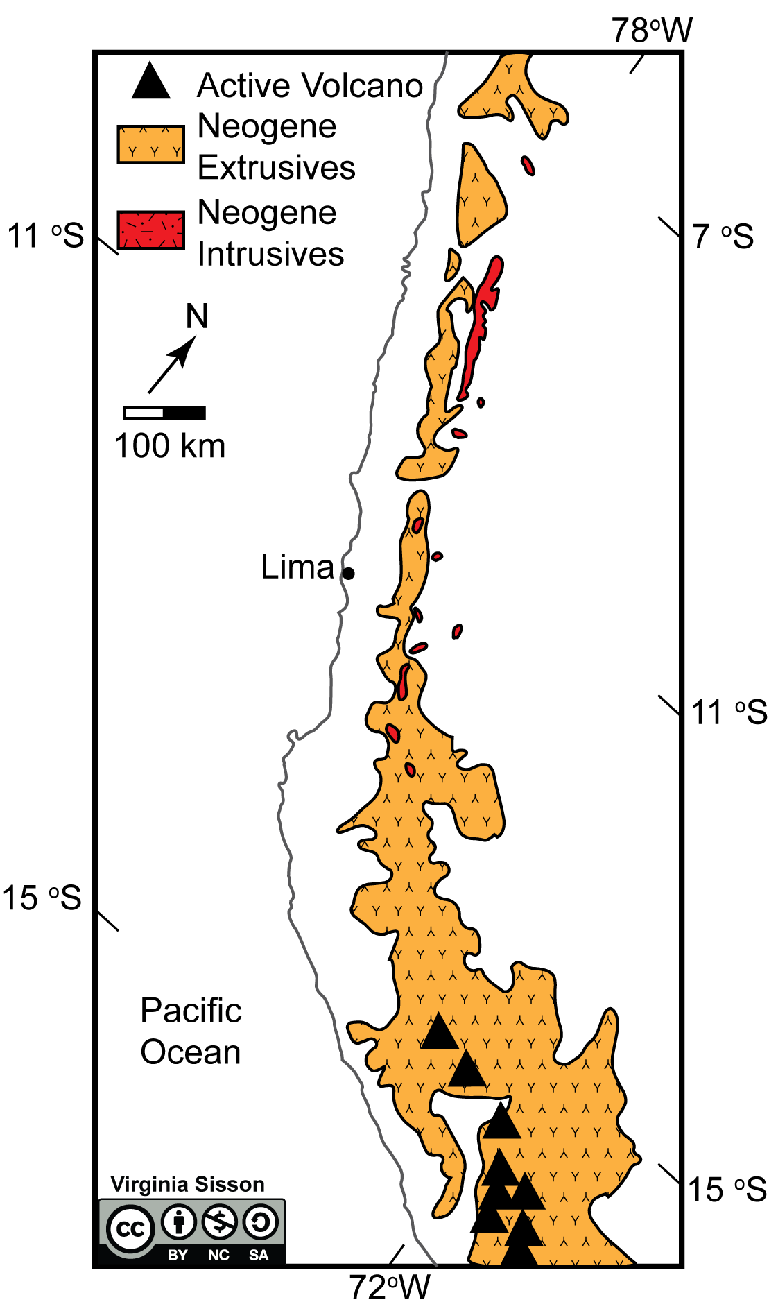 This map shows igneous rocks (extrusive in orange, intrusive in red) and volcanoes from a region in Peru.