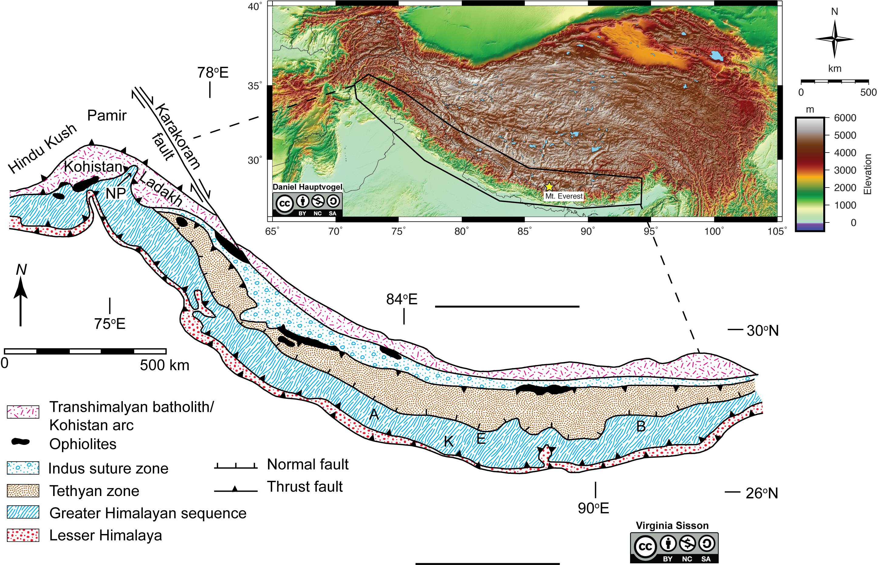 Geologic map of the Himalaya Mountain Range with a topographic insert.