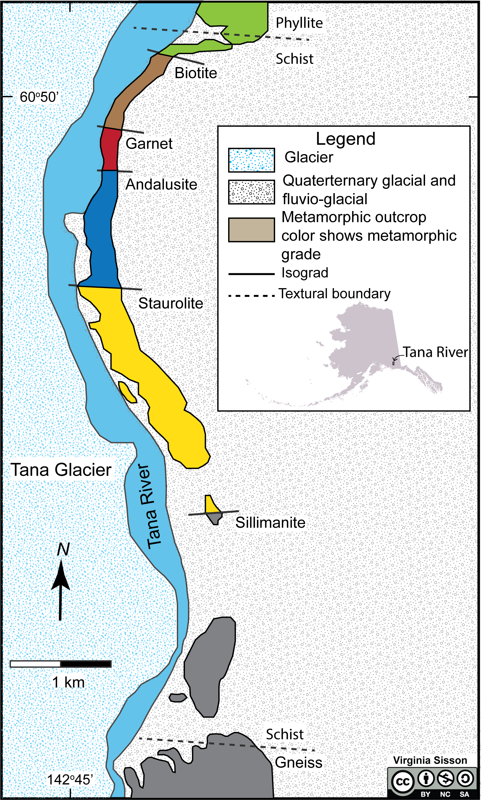 This maps shows the metamorphic zones and textures of southern Alaska.