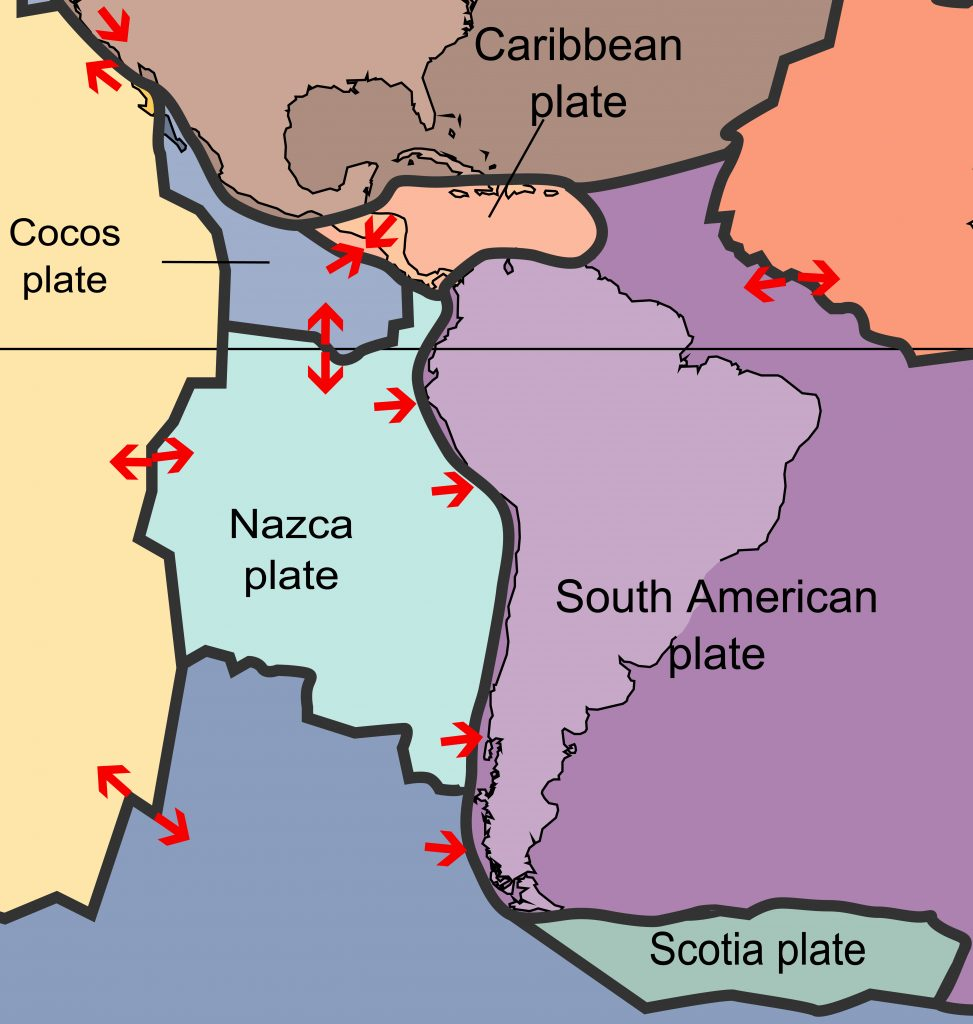 Tectonic setting of the Nazca plate showing its subduction under the South American plate and interactions with other surrounding plates.