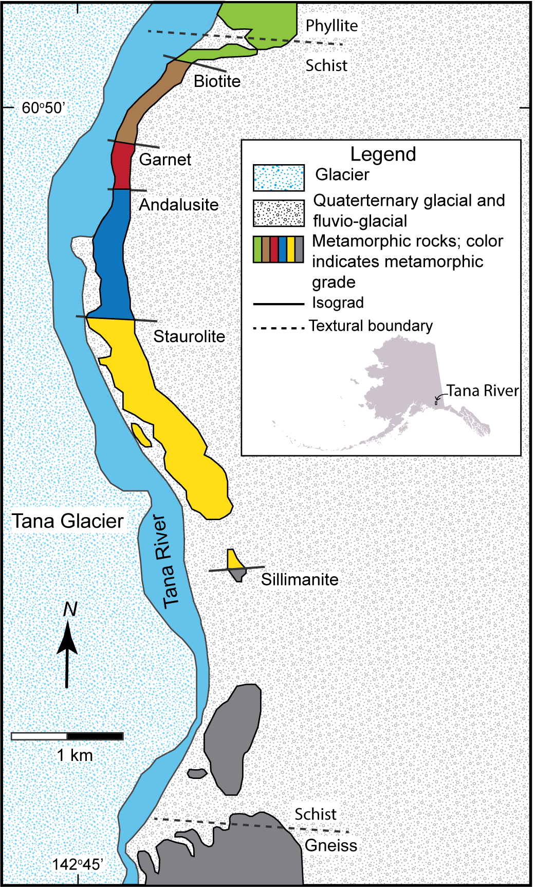 Map of metamorphic zones in southern Alaska along the Tana River