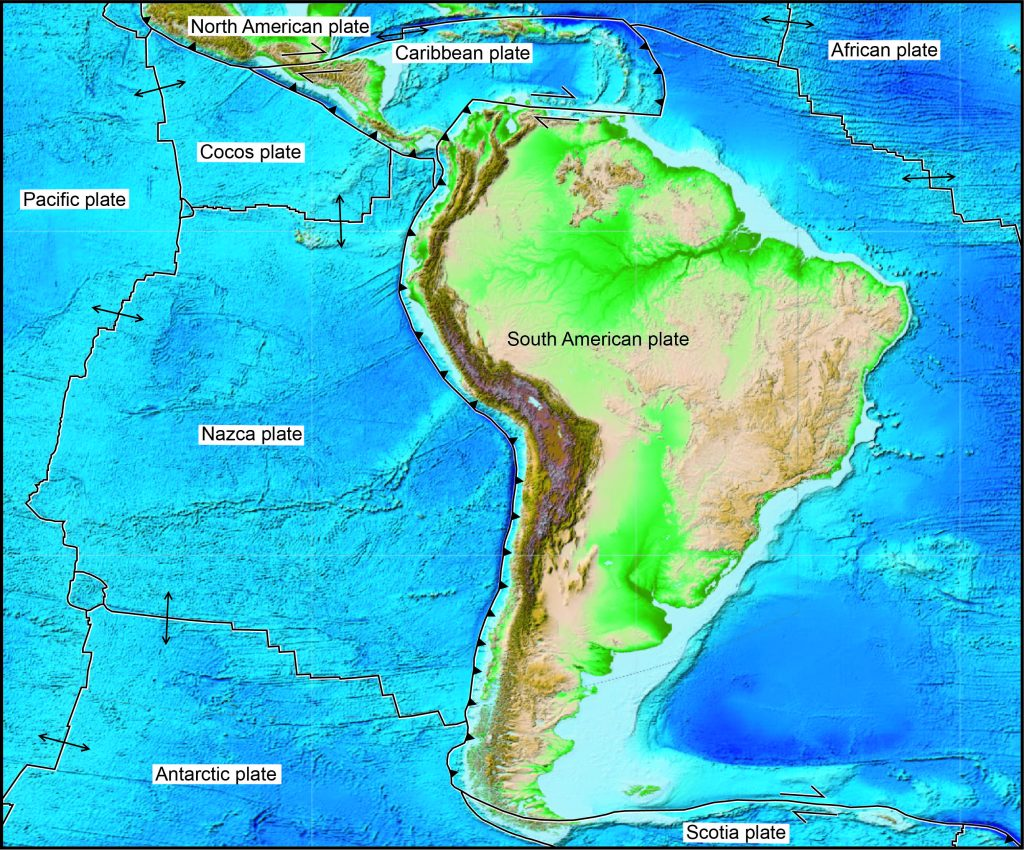 Plate tectonic map of South America and adjacent plates