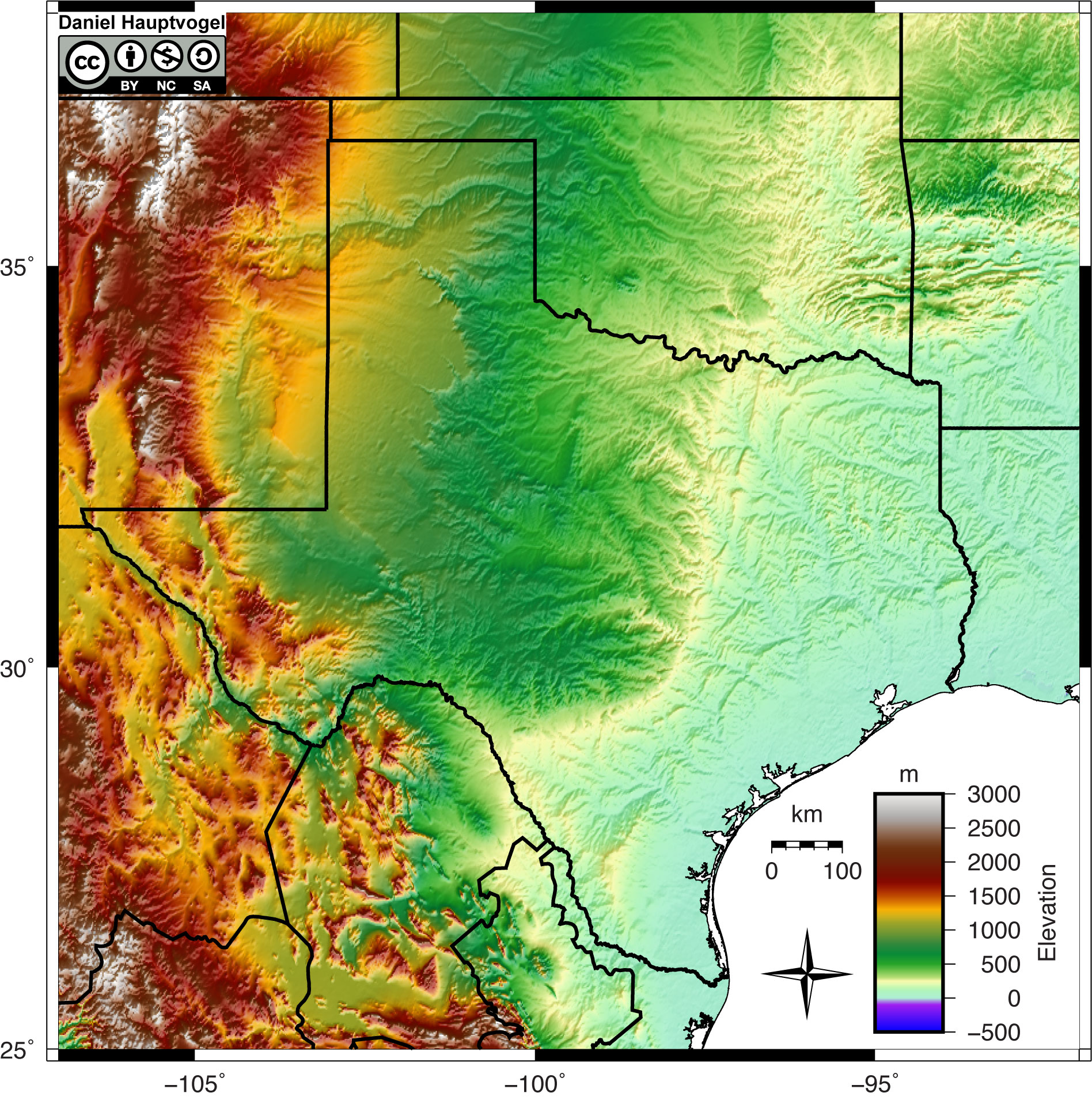Shaded relief map of Texas.