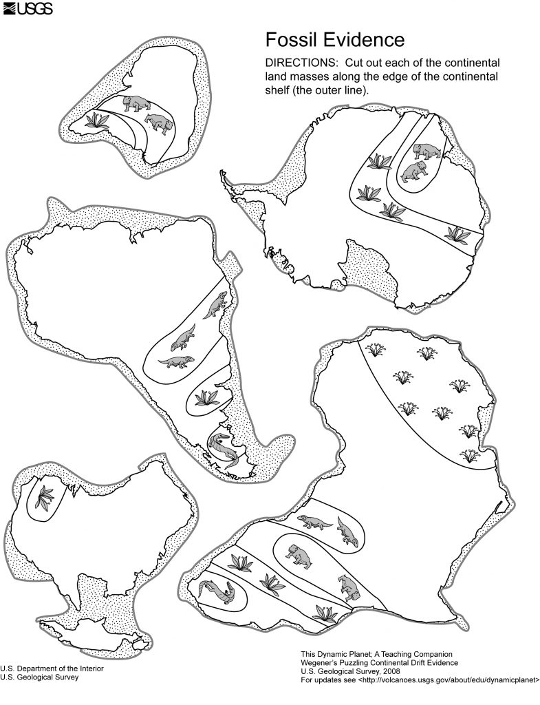 Five continents with their continental shelves and fossil locations for Exercise 1.1