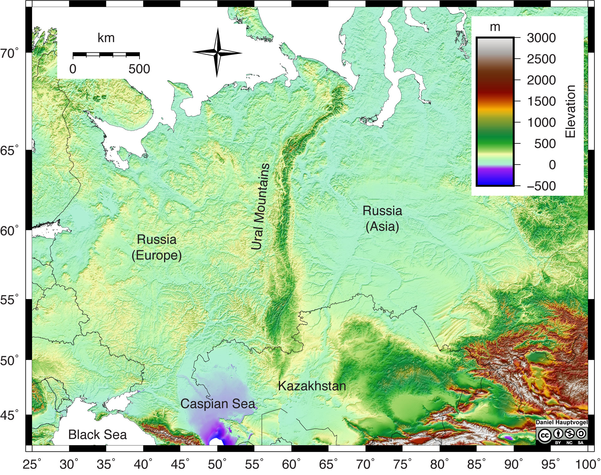 Shaded relief map of the Ural Mountains in Russia.