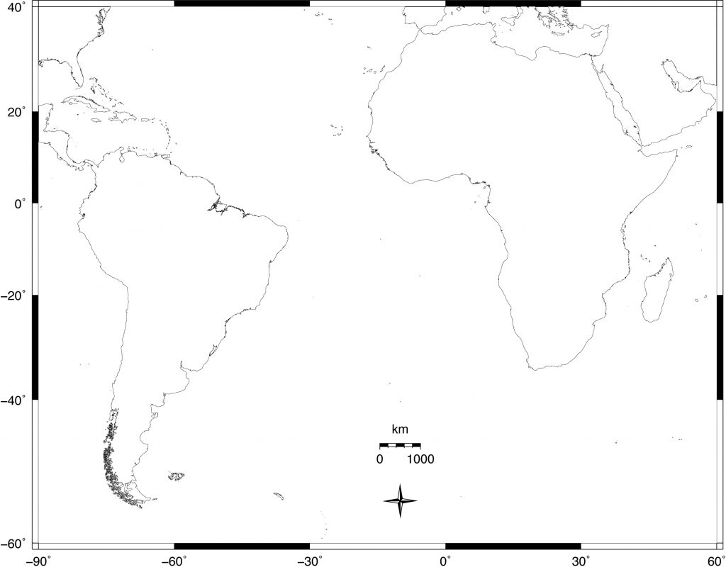 Blank map focusing on South American, Africa, and the South Atlantic Ocean, to be used in Exercise 1.1.