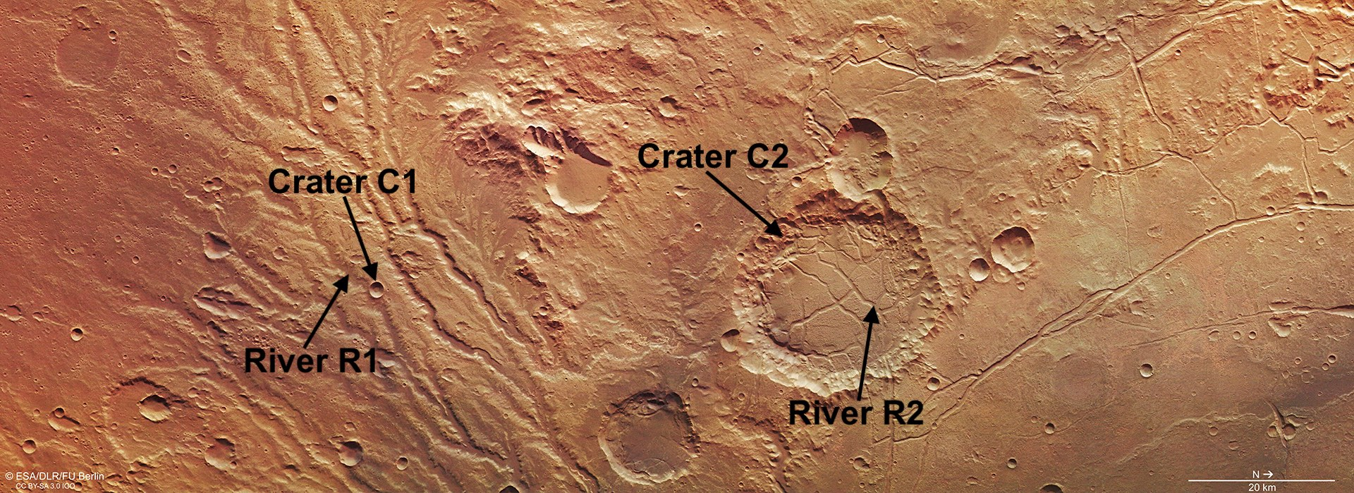 Martian imagery for craters and rivers for Exercise 3.8