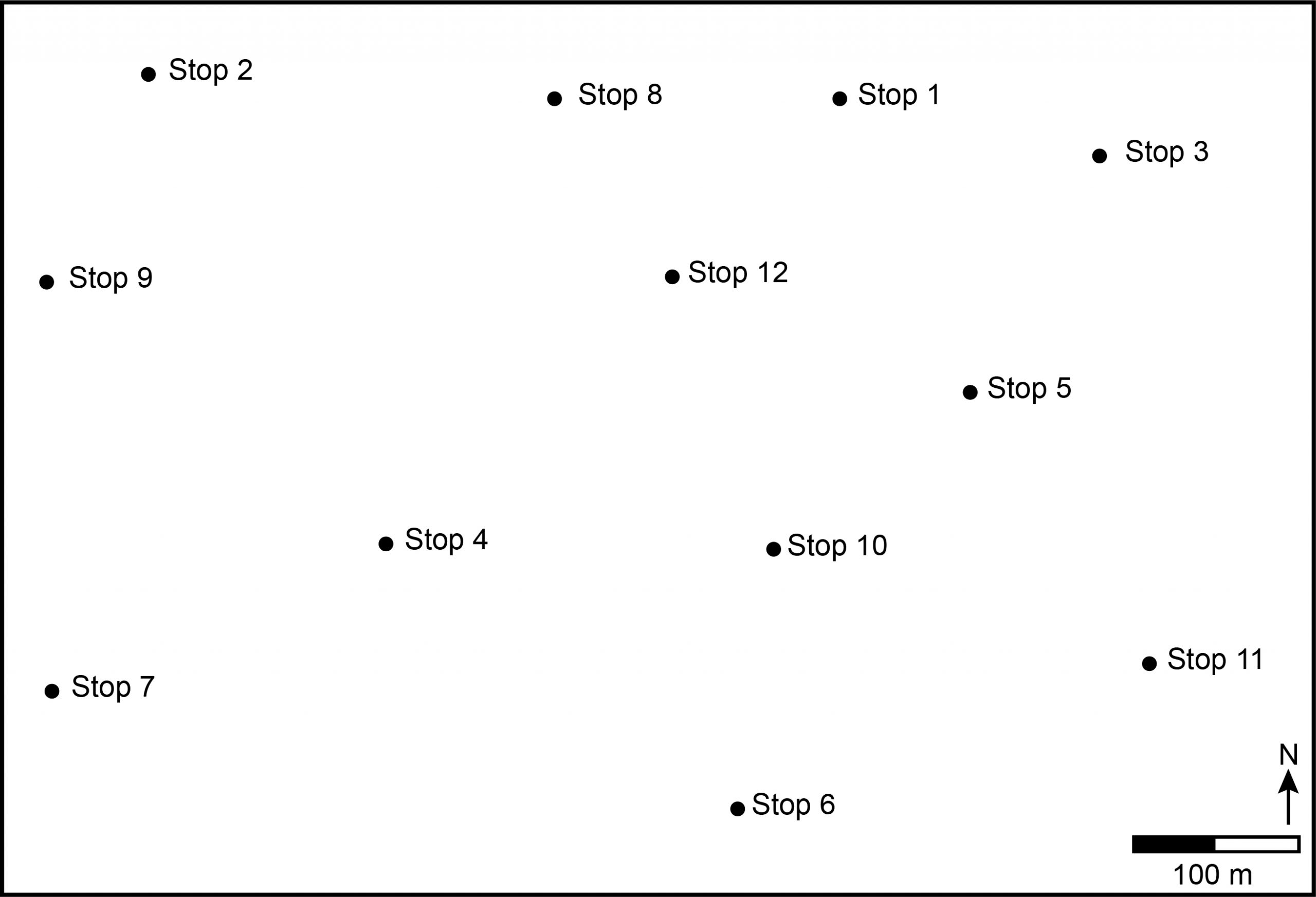 Location map for Stops 1-12 for this exercise