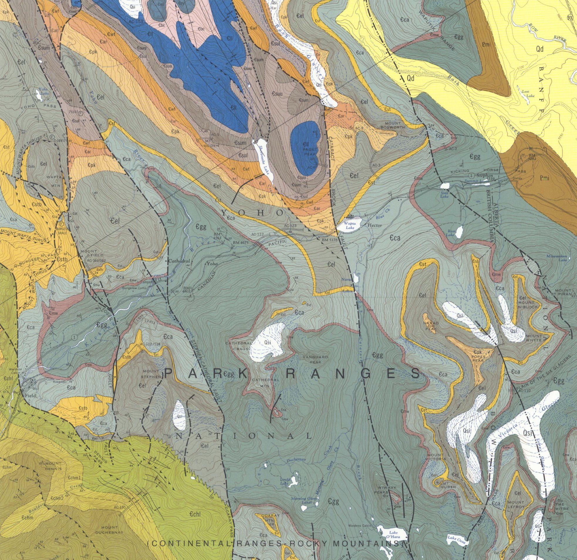 Screenshot of the Burgess Shale geologic map