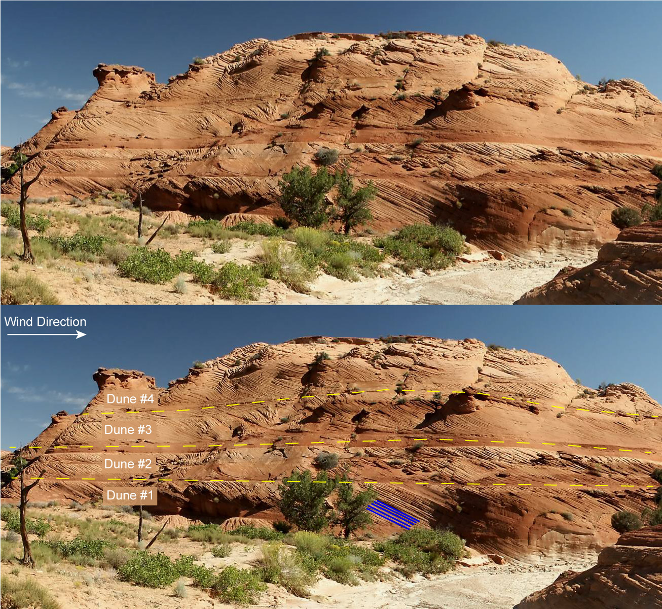 Both images are of red sedimentary rocks with cross-bedding from the migration of dunes. The lower image has markings showing the dunes and cross-beds.