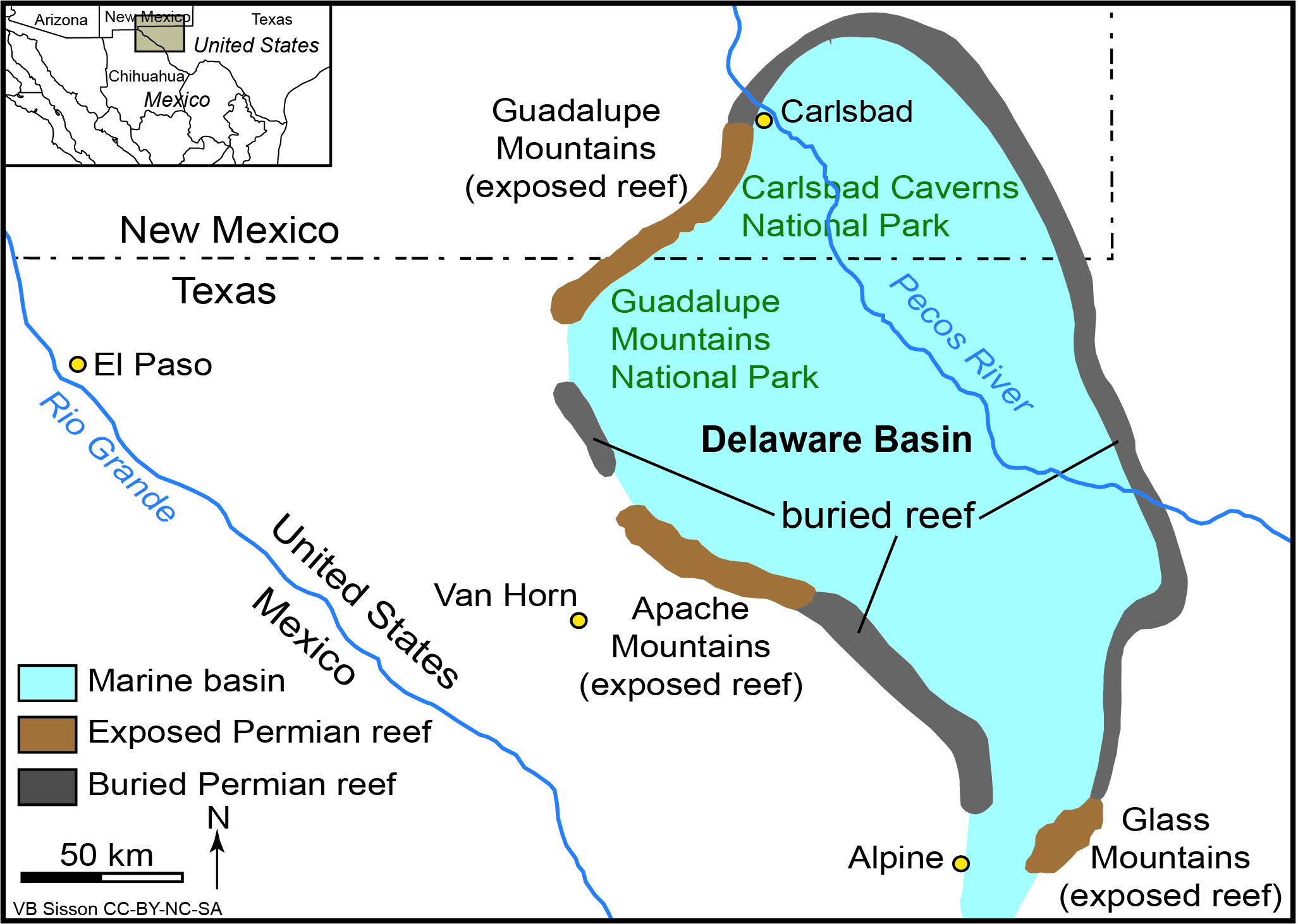 Map of exposed Permian reef around the Delaware Basin
