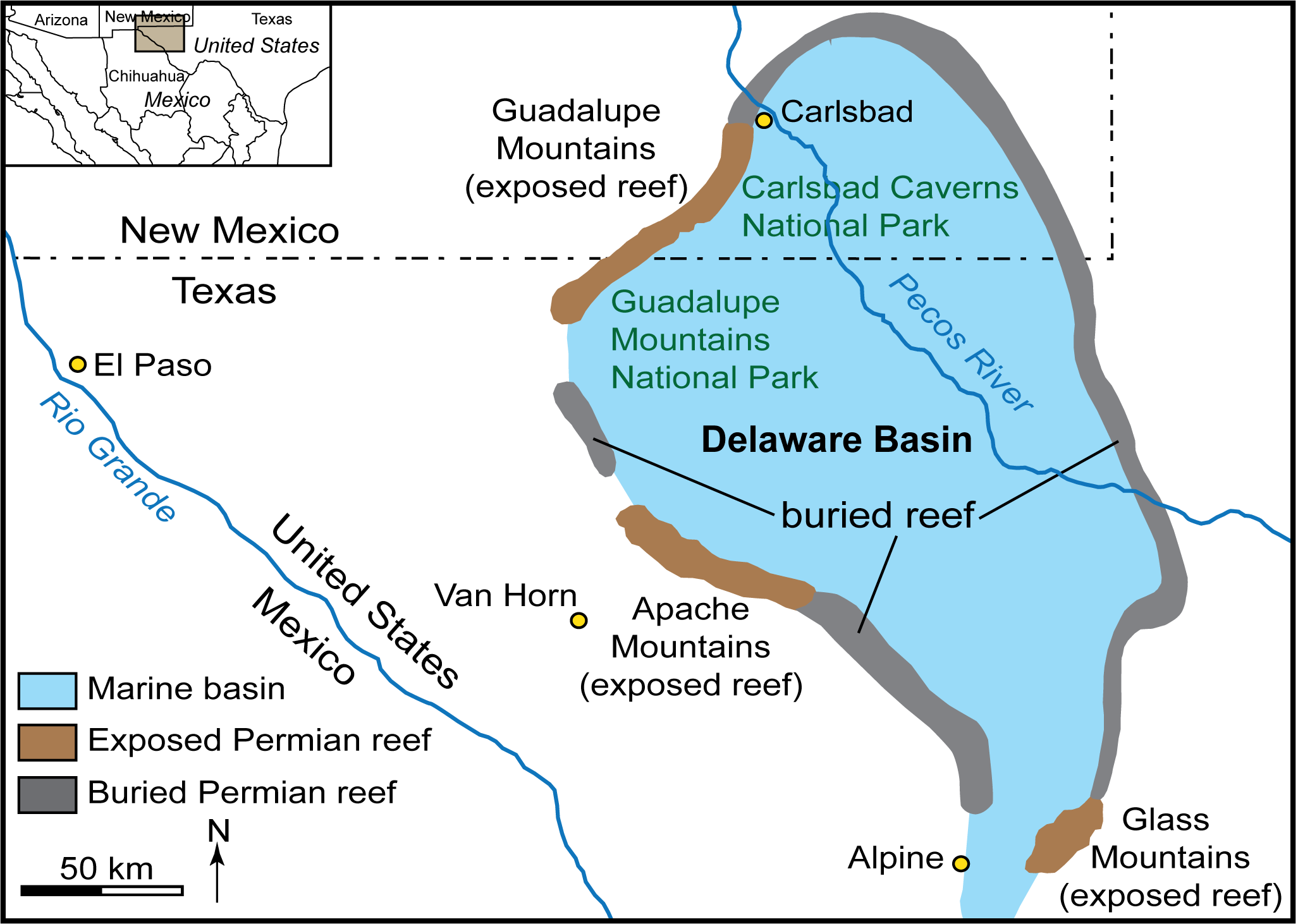 Map of exposed and unexposed Permian reef that encircled the Delaware Basin, an inland sea