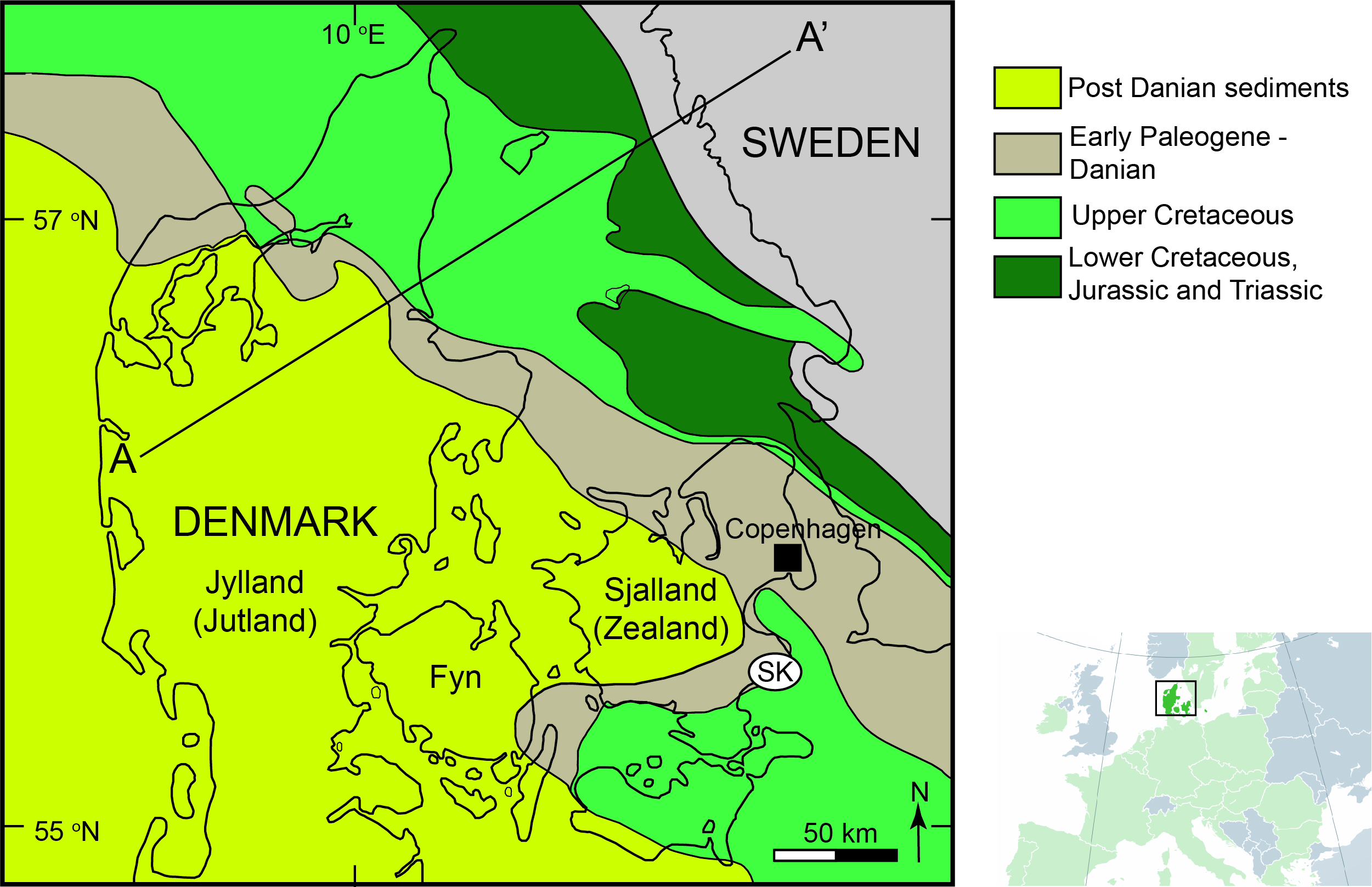 Geologic map of Denmark showing location of Stevns Klint