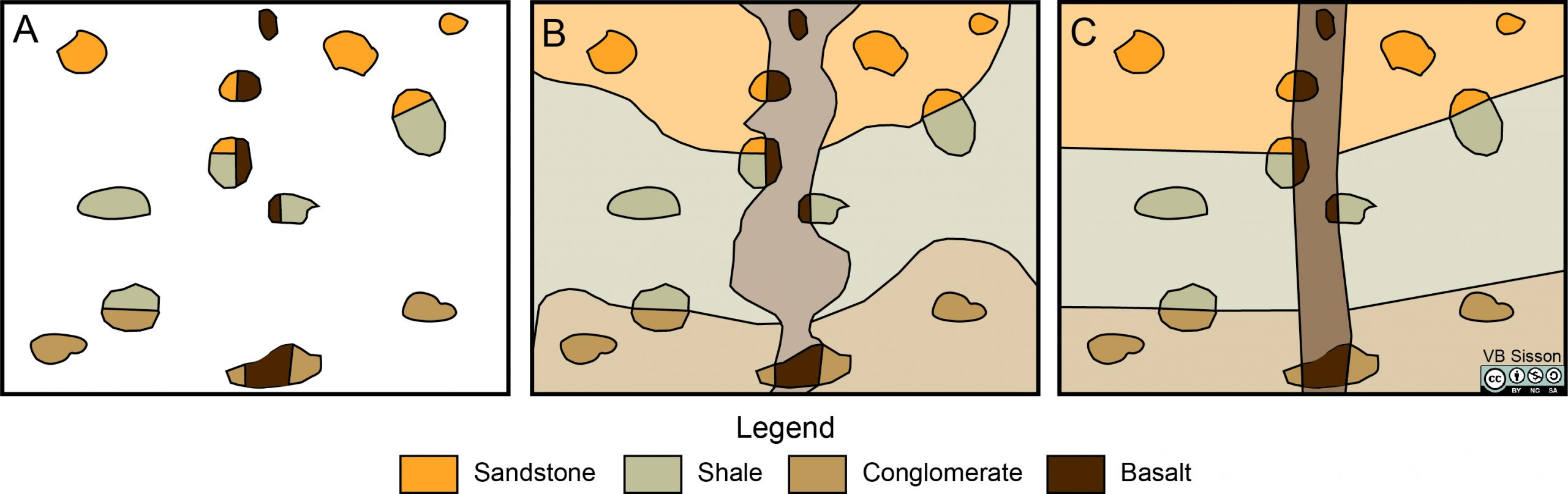 An outcrop map and two possible interpretations of this data