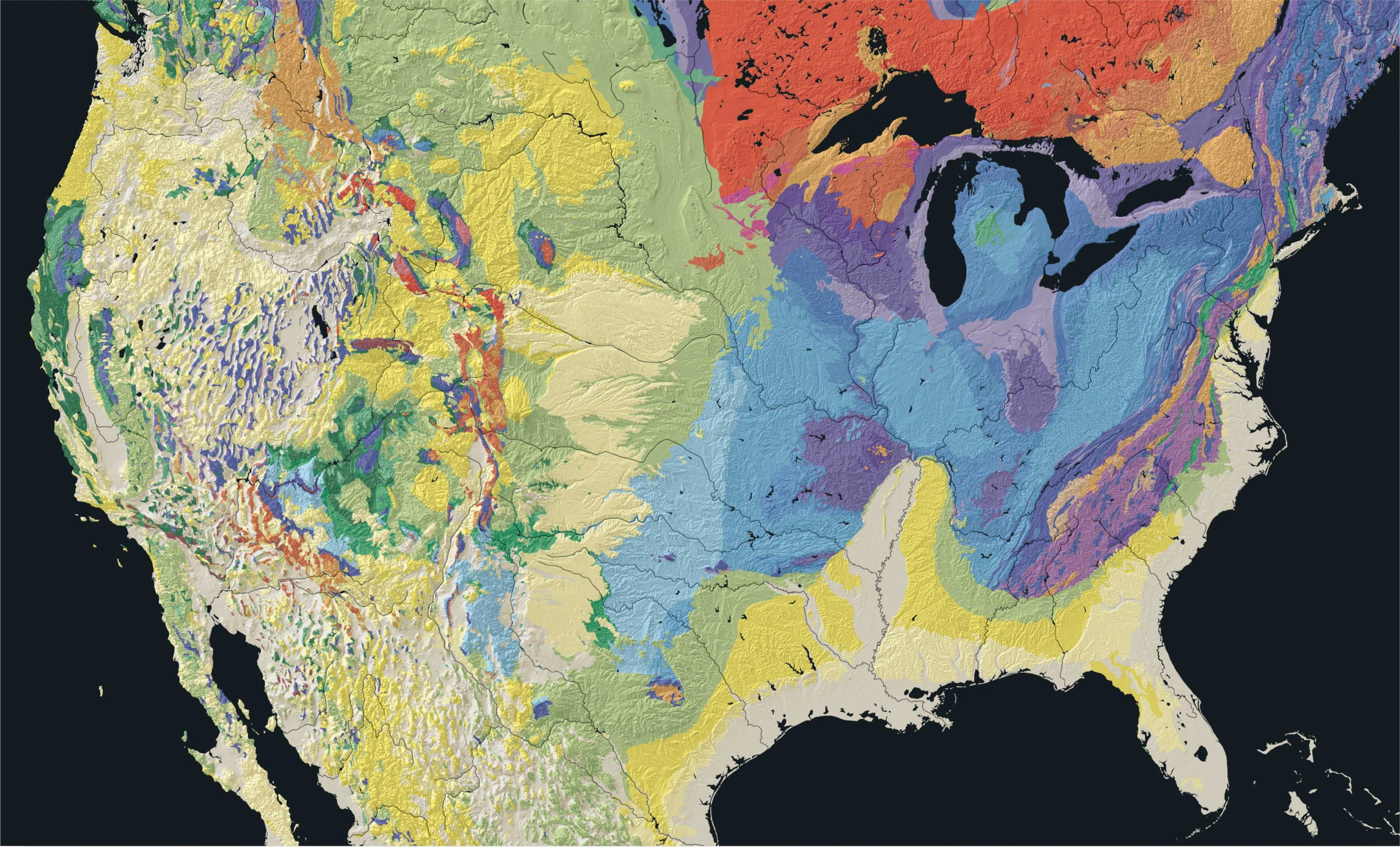 Map with varying colors representing different ages of rocks throughout the United States.