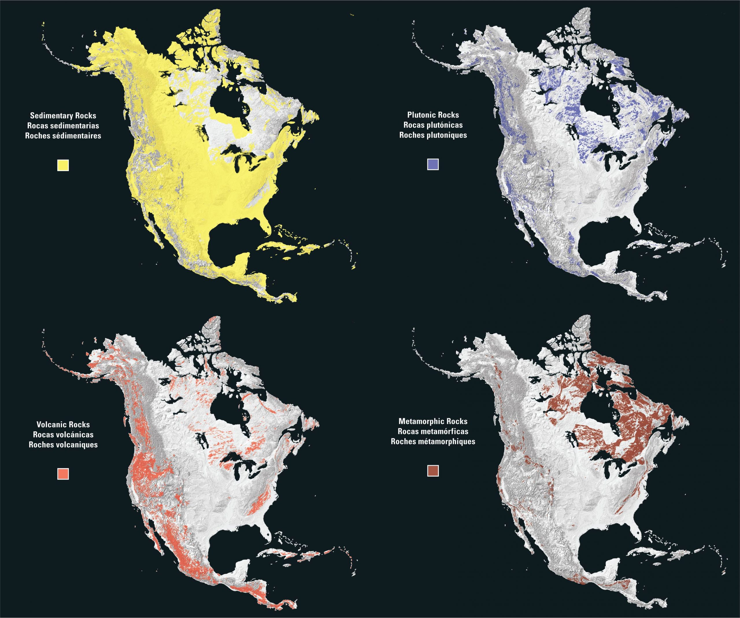 Sedimentary rocks cover most of the North American surface, followed by volcanic rocks, metamorphic rocks, and plutonic rocks