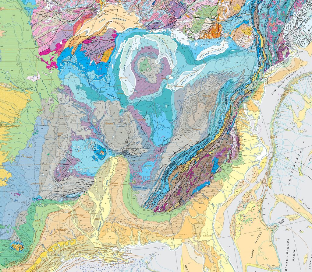 Modern geologic map of the eastern United States is and how it compares to the first map in Figure 0.7.