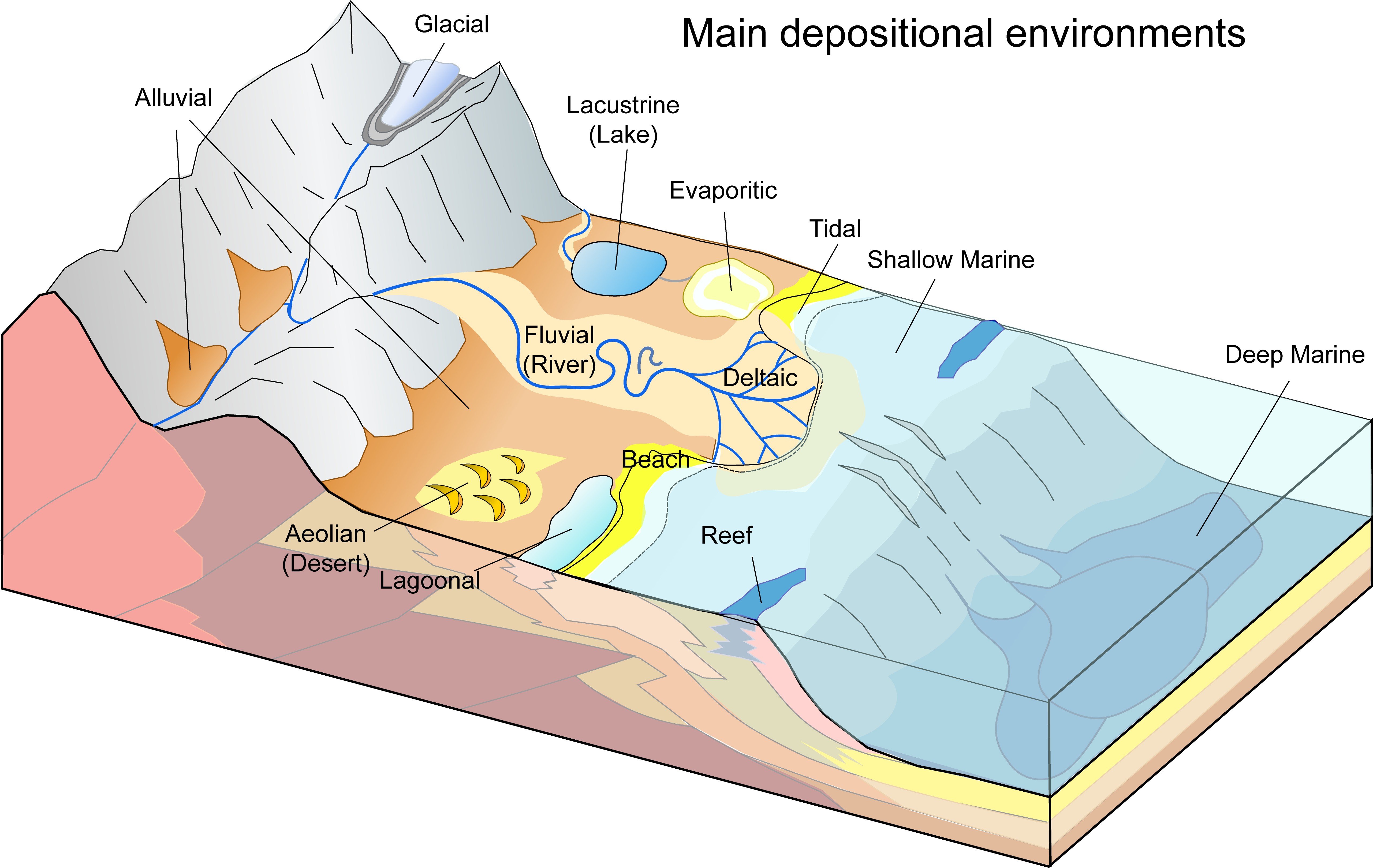 Block diagram of primary depositional environments of sediments.